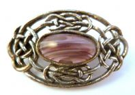 Vintage Celtic Style Faux Agate Stone brooch by Miracle.
